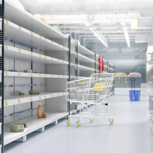 empty store shelves after a disaster