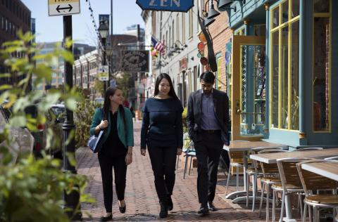 three students shopping in downtown baltimore