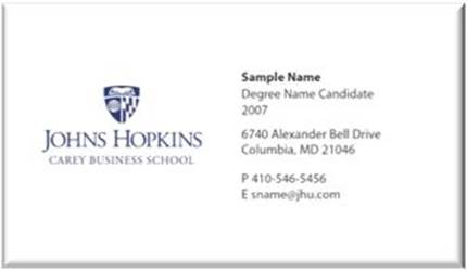 Student Business Cards Name Badges Johns Hopkins Carey Business