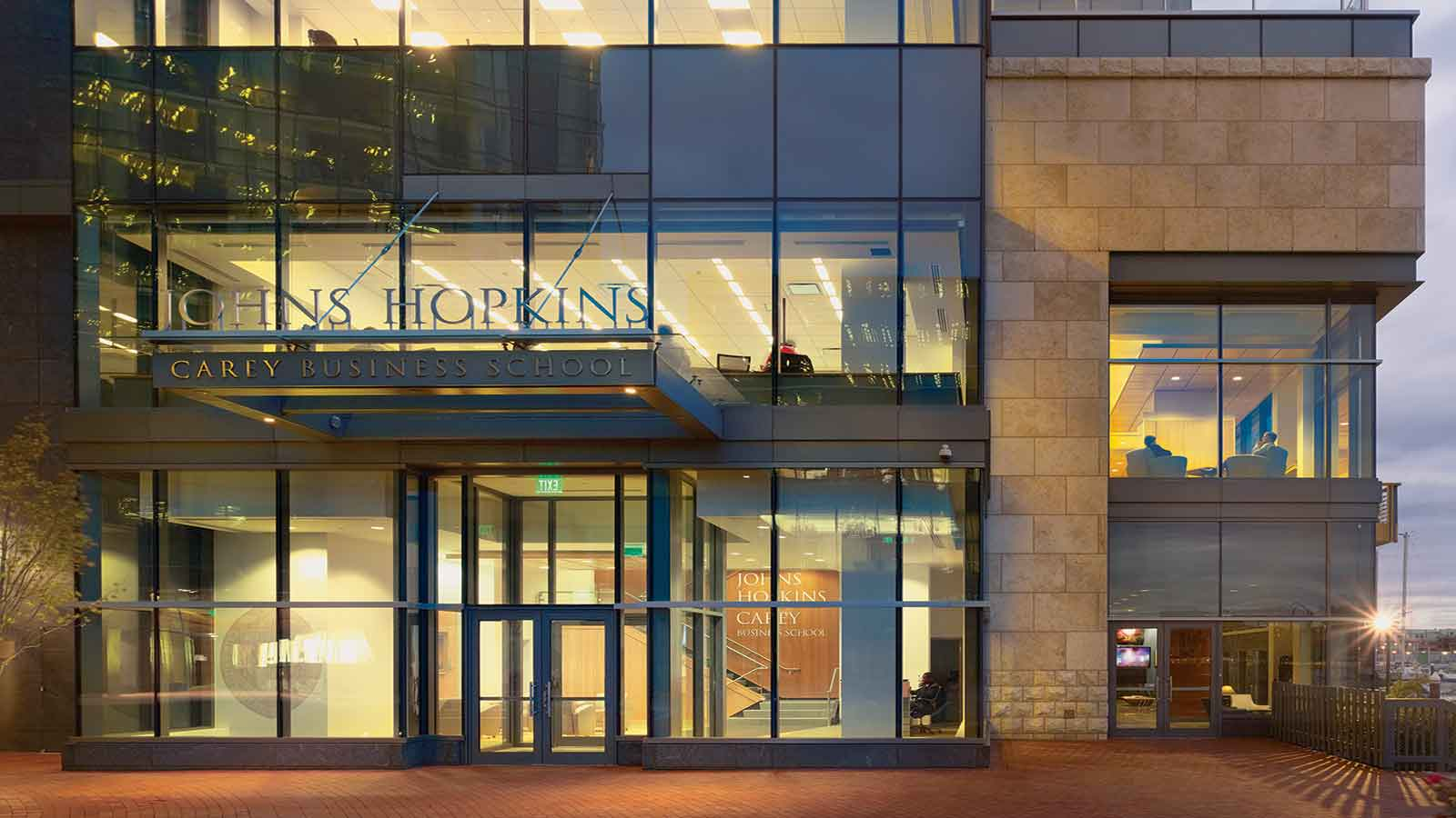 The entrance to the Johns Hopkins carey business school