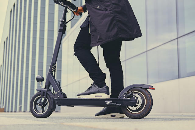 a fleet of electric scooters is available for easy transportation around Baltimore's downtown area