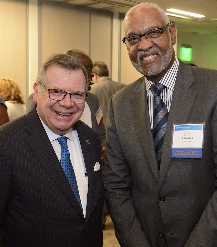 Carey Dean Bernie Ferrari (left) worked with Dean's Advisory Council member John Hunter to launch the Leading a Diverse Society Initiative.